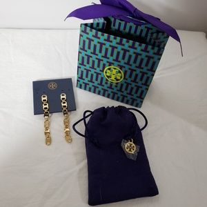 "TORY BURCH *nwt* 3"" Earring Gold Tone, Pouch & Bag"